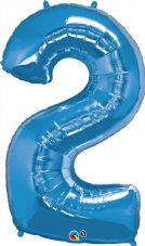 Number 2 Blue Super Shape Number Foil Balloon